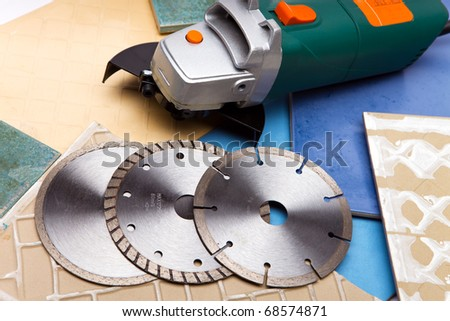 The machine for are sharp a tile and disks - stock photo
