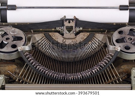 The machinery of an old typewriter, close-up - stock photo