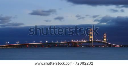 The Mackinaw Bridge, Between Michigan's Upper And Lower Peninsulas At Night, USA - stock photo