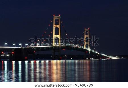 The Mackinaw Bridge connecting Michigan's upper and lower peninsula's. - stock photo