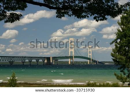 The Mackinaw Bridge connecting Michigan's Upper and Lower Peninsulas. - stock photo