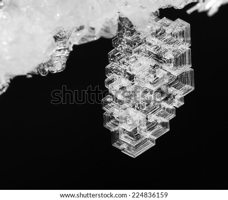 the macro frosty pattern on an ice crystal natural - stock photo