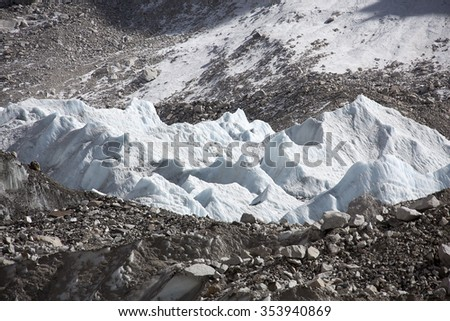 The macro view of Khumbu glacier in Nepal. - stock photo