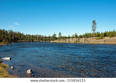 The Madison river in Yellowstone National Park - stock photo