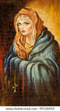 The Madonna drawn by me by oil on canvas - stock photo
