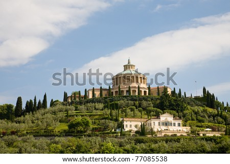 The Madonna of Lourdes Sanctuary on a hill of Verona in northern Italy - stock photo