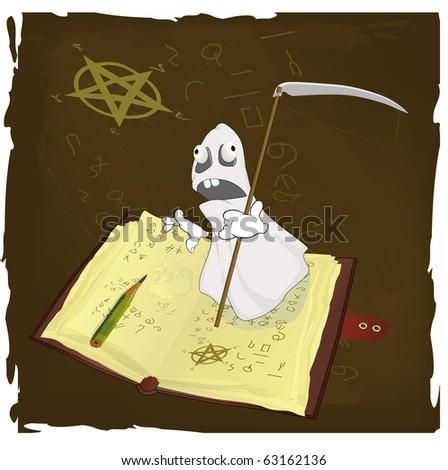 The magic book and evil spirits prisoner. Raster version - stock photo