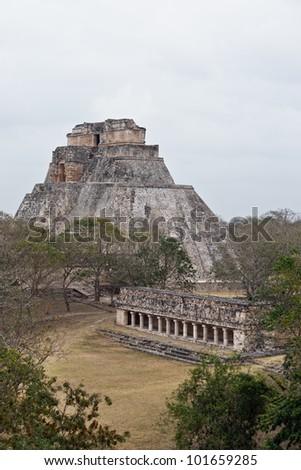 The Magician's Pyramid, Uxmal, Mexico - stock photo