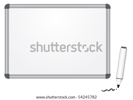The magnetic white marker board isolated on the white background - stock photo