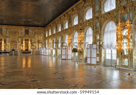 The magnificent ballroom inside the Catherine's Palace, Tsarskoye Selo (Pushkin), St. Petersburg, Russia.
