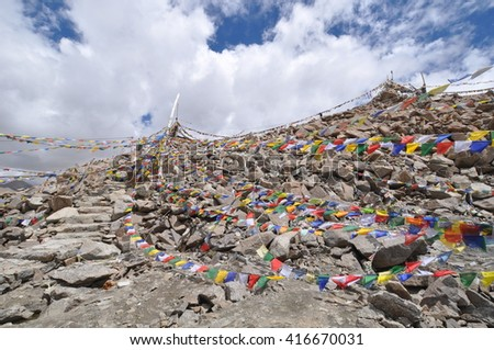 The magnificent Khardung la pass, the highest motorable road in the world, Leh. India