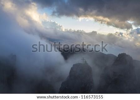 The magnificent view from Ai-Petri mountain, Crimea, Ukraine, at sunrise - stock photo