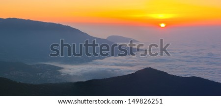 The magnificent view from Ai-Petri mountain, Crimea, Ukraine, at sunrise