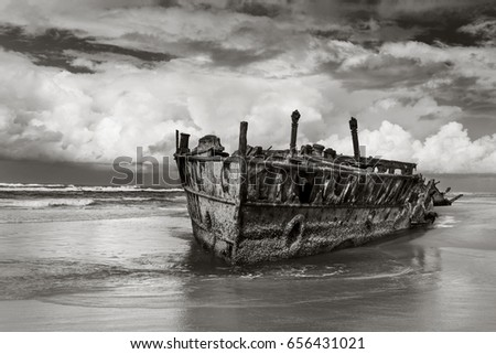 The Maheno shipwreck on world heritage listed Fraser Island Queensland Australia
