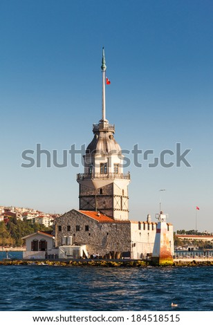 The Maiden's Tower in istanbul, Turkey on background blue sky - stock photo