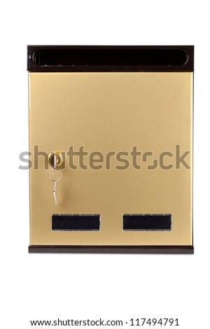The mailbox with a key on white background. - stock photo