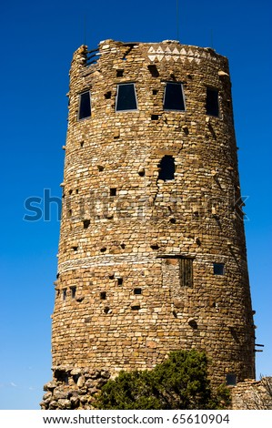 The main building at Desert View in Grand Canyon is one of the tallest buildings along the south rim. - stock photo