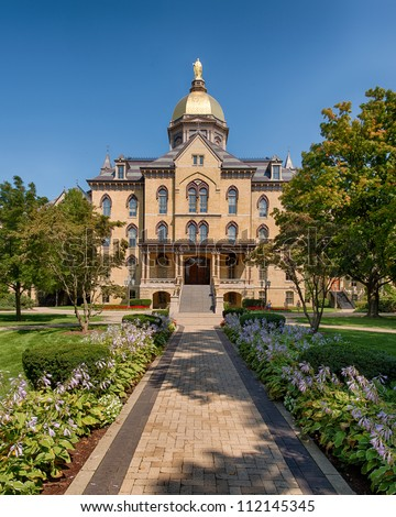 The Main Building on the campus of the University of Notre Dame in South Bend, Indiana - stock photo
