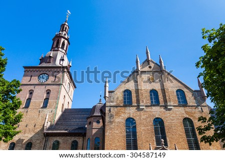 The main cathedral in Oslo, Norway. - stock photo