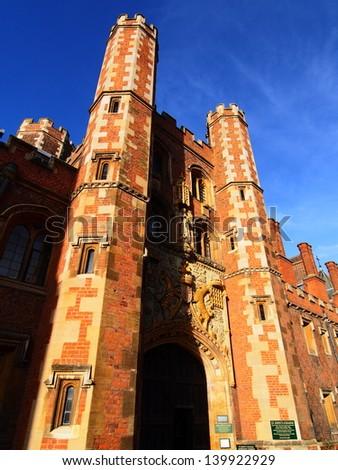 The main entrance, built in 1516, St. Johns College Great Gate along St. John Street, Cambridge University, Cambridgeshire, England, United Kingdom, Western Europe. - stock photo