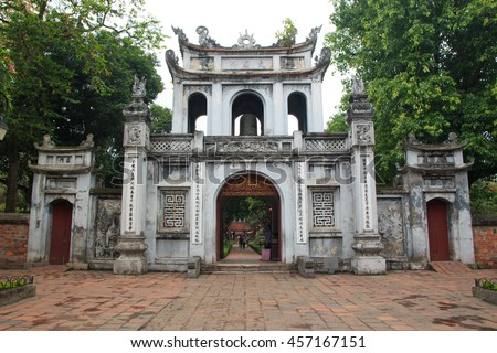 The main entrance gate at The Temple of Literature, Landmark in Hanoi, Vietnam