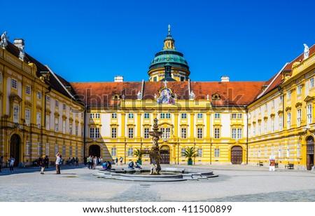 the main entrance of melk abbey in austria - stock photo