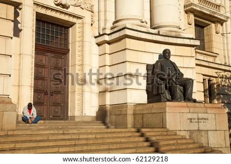The main entrance of the Sofia University, Bulgaria. - stock photo