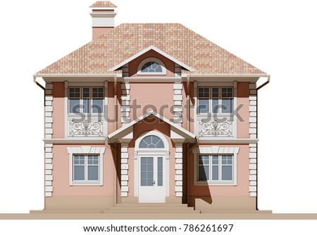 Main Facade Residential Pink Symmetrical House Stock Illustration