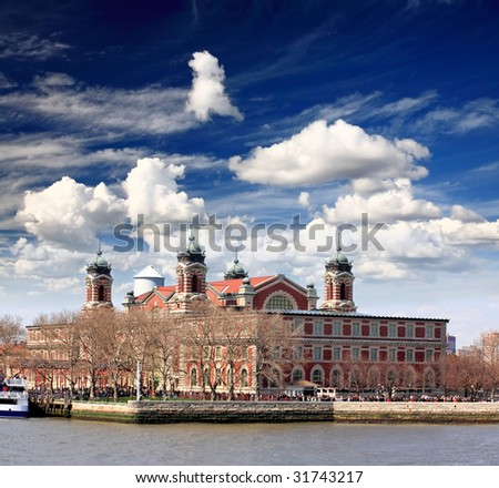 The main immigration building on Ellis Island in New York harbor - stock photo