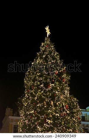 The main Kyiv's New Year tree on Sophia Square in Kyiv, Ukraine - stock photo