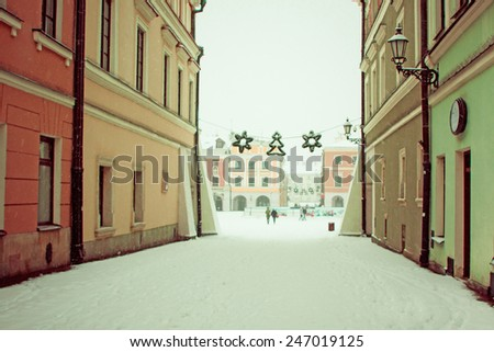 The main market square Christmas decoration in the old town of Zamosc, Poland - stock photo