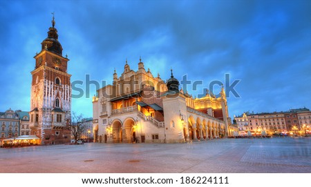 The Main Market Square in Krakow, Poland. - stock photo