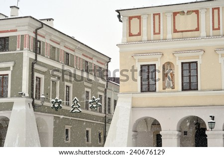 The main market square in the old town of Zamosc, Poland - stock photo