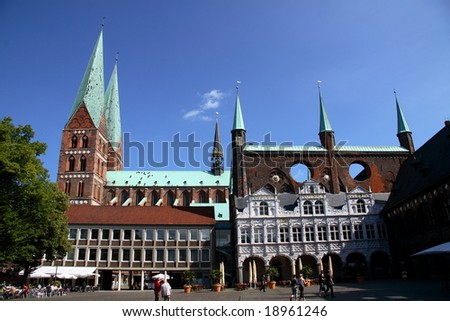 the main place of Lubeck - stock photo