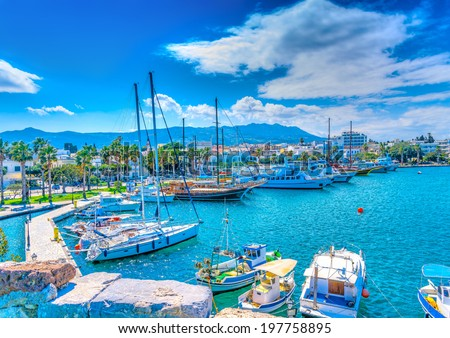 The main port of Kos island in Greece. HDR processed - stock photo