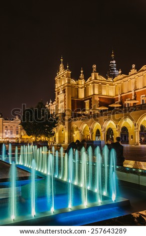 The main square of Old Town of Krakow, Lesser Poland, is principal urban space located at center of city. - stock photo
