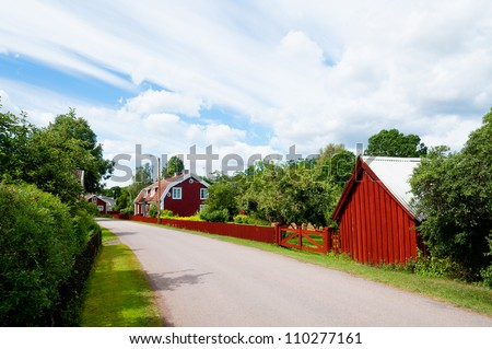 The main street of Pataholm, Sweden, with pitoresque houses and builings from the 19th century