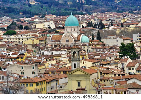 The main synagogue in Florence, Tuscany, Italy. View from the Piazzale Michelangelo.