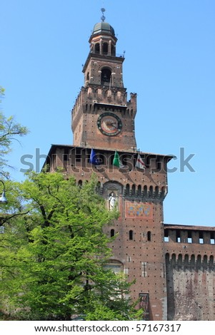 The main tower of Sforzesco castle in Milan, Italy - stock photo