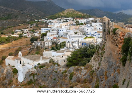 The main village in Kythira, Aegean sea, Greece, view from the castle