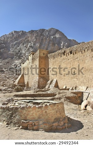 The main water source where Moses is said to have met his future wife, Zipporah, Jethro's daughter. St. Catherines is said to be the oldest monastery in the world. - stock photo