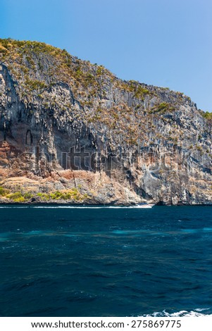 The majestic cliffs of Phi Phi Island tropical paradise, Thailand, in the summer - stock photo