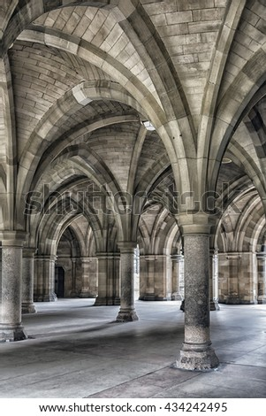 The majestic cloisters at Glasgow university in Scotland. - stock photo