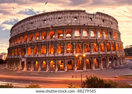 The Majestic Coliseum Amphitheater, Rome, Italy. - stock photo