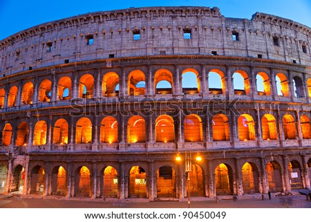 The Majestic Coliseum Amphitheater, Rome, Italy. - stock photo