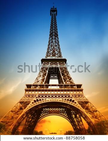 The majestic Eiffel tower - stock photo