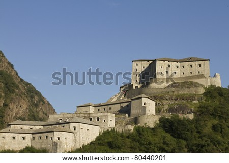 The majestic fort of Bard in Valle d'Aosta - stock photo