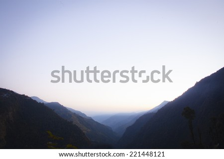 The majestic Himalayas at the sunset time, Nepal