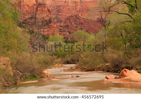 The majestic North Fork of the Virgin River as it winds through Zion Canyon in Zion National Park, Utah - stock photo