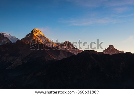 The majestic of Himalayan mountain range during sunrise view from Poon Hill view point at Nepal. - stock photo